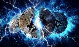 Moneta del bitcoin dell'oro Fotografia Stock Libera da Diritti