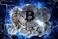 Moneta del bitcoin dell'oro Immagini Stock Libere da Diritti