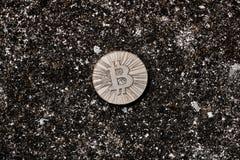 Moneta del bitcoin dell'oro Immagini Stock