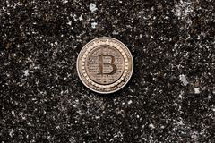 Moneta del bitcoin dell'oro Immagine Stock Libera da Diritti