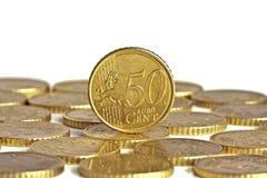 Moneta del centesimo dell'euro cinquanta Fotografie Stock Libere da Diritti