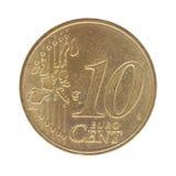 Moneta del centesimo dell'euro dieci Fotografia Stock Libera da Diritti