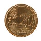 Moneta del centesimo dell'euro venti Fotografie Stock