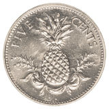 moneta del centesimo di 5 abitanti delle Bahamas Fotografia Stock