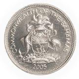 moneta del centesimo di 25 abitanti delle Bahamas Fotografia Stock Libera da Diritti