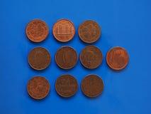 1 moneta del centesimo, Unione Europea sopra il blu Fotografia Stock Libera da Diritti
