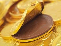 Moneta del cioccolato Fotografia Stock