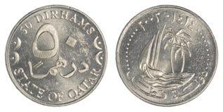 Moneta del dirham di 50 Qatari Fotografie Stock Libere da Diritti
