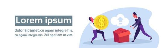 Moneta del dollaro della tenuta dell'uomo d'affari che spinge orizzontale online di concetto di sincronizzazione di download dell illustrazione di stock