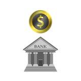 Moneta del dollaro e della Banca isolata su fondo bianco Immagini Stock