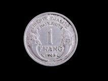 Moneta del franco francese dell'annata Fotografia Stock Libera da Diritti