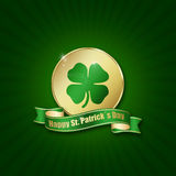 Moneta del giorno di St Patrick con il saluto Fotografie Stock Libere da Diritti