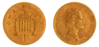 1 moneta del penny 1988 isolata su fondo bianco, Gran Bretagna Fotografie Stock Libere da Diritti