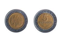 Moneta del peso del boliviano cinque Fotografia Stock Libera da Diritti