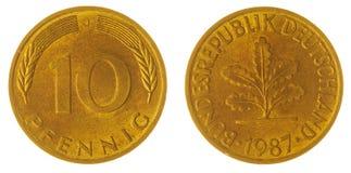 10 moneta del pfennig 1987 isolata su fondo bianco, Germania Fotografie Stock Libere da Diritti