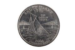 Moneta del quarto di Rhode Island Tail United States Fotografie Stock Libere da Diritti