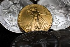 Moneta dell'aquila dell'oro Fotografie Stock Libere da Diritti