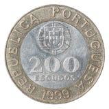 Moneta dell'escudo portoghese Fotografia Stock Libera da Diritti