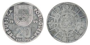 Moneta dell'escudo portoghese Fotografia Stock