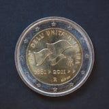 Moneta dell'euro 2 dall'Italia Fotografia Stock