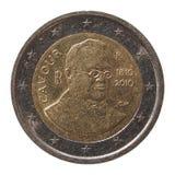 Moneta dell'euro 2 dall'Italia Fotografia Stock Libera da Diritti