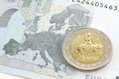 Moneta dell'euro due Immagini Stock