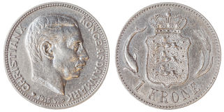 1 moneta della corona scandinava 1915 isolata su fondo bianco, Danimarca Immagine Stock