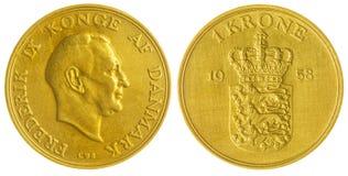 1 moneta della corona scandinava 1958 isolata su fondo bianco, Danimarca Fotografia Stock