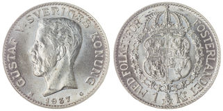 1 moneta della corona scandinava 1937 isolata su fondo bianco, Svezia Fotografie Stock Libere da Diritti
