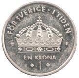 Moneta della corona svedese Fotografia Stock