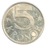 moneta della corona svedese 5 Fotografia Stock