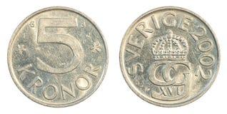 moneta della corona svedese 5 Fotografia Stock Libera da Diritti