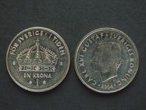 1 moneta della corona svedese (corona svedese) Fotografie Stock Libere da Diritti