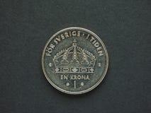 1 moneta della corona svedese della corona svedese Immagini Stock