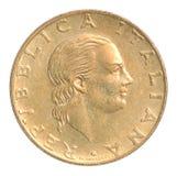 Moneta della Lira italiana Fotografia Stock Libera da Diritti