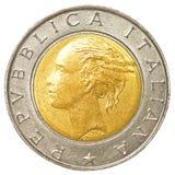 moneta della Lira italiana 500 Immagini Stock