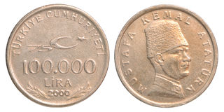Moneta della Lira turca Fotografia Stock