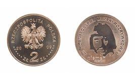 Moneta della lucidatura di Czeslaw Niemen anteriore e posteriore Fotografie Stock Libere da Diritti