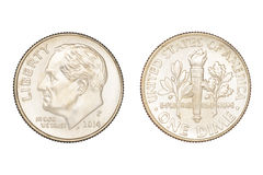 Moneta della moneta da dieci centesimi di dollaro isolata Immagine Stock Libera da Diritti