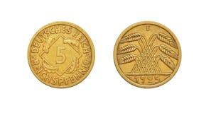 Moneta della Repubblica di Weimar della Germania 5 Reichspfennig Fotografie Stock