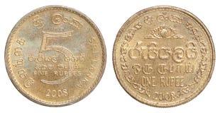 Moneta della rupia dello Sri Lanka Fotografia Stock Libera da Diritti
