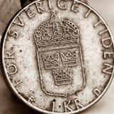 Moneta della Svezia, una corona scandinava Fotografia Stock Libera da Diritti