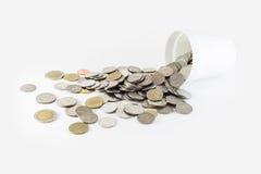 Moneta della Tailandia in barattolo Fotografie Stock Libere da Diritti