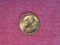 Moneta delle Lire di Papa Giovanni Paolo II Fotografie Stock Libere da Diritti