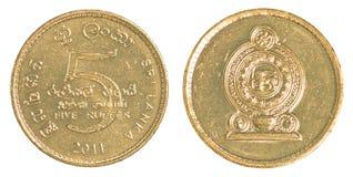 Moneta dello Sri Lanka della rupia 5 Fotografia Stock Libera da Diritti