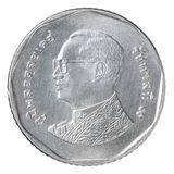 Moneta di baht tailandese cinque Immagini Stock Libere da Diritti