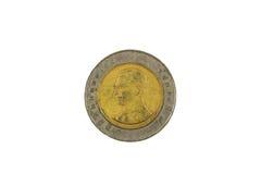 Moneta di baht tailandese dieci Fotografia Stock