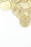 Moneta di baht tailandese due su in alto a destra Fotografie Stock