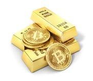 Moneta di bitcoin isolata su un bianco mining Fotografia Stock Libera da Diritti