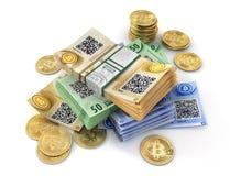Moneta di bitcoin isolata su un bianco mining illustrazione 3D Immagini Stock
